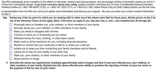 Domestic abuse questions on Form 8857