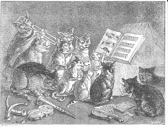 Cats concert engraving by Jan Brueghel via Pinterest