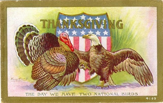 Thanksgiving Day proclamation turkey eagle vintage postcard