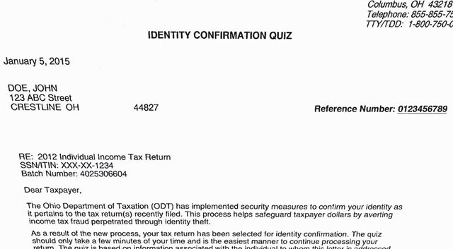 Some ohio taxpayers stumped by states tax id theft quiz dont ohio taxpayer id theft refund quiz letter spiritdancerdesigns Image collections