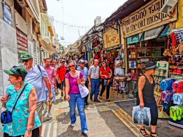 Shoppers in Monastiraki-Pondrossou by Matt Barrett Athens Survival Guide