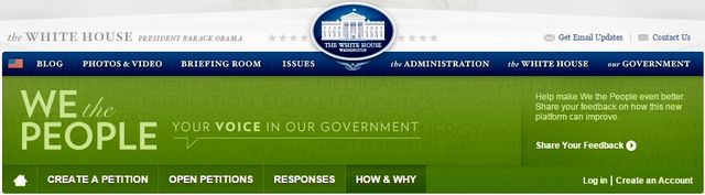 We the People White House online petition website banner