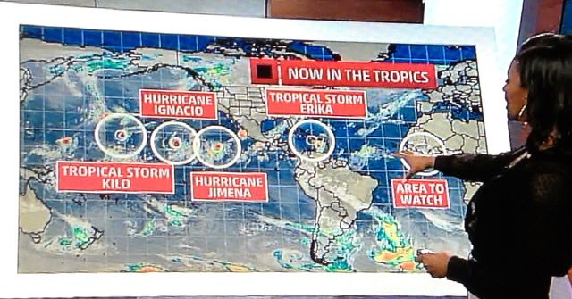 Multiple tropical systems 082815 Weather Channel screen shot