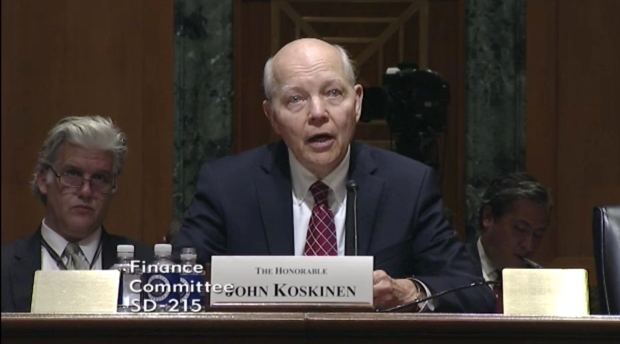 IRS Commissioner John Koskinen at Senate Finance hearing 10-27-15