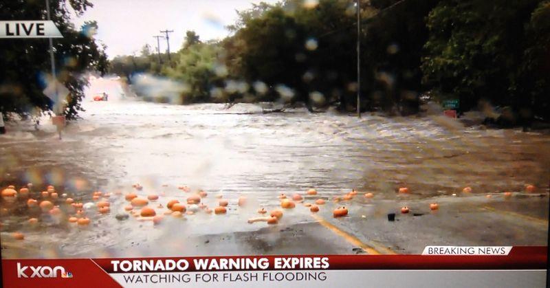 Halloween Eve 2015 flooding Cypress Creek in Wimberley pumpkins totally over bridge