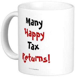 Many happy tax returns mug left handle