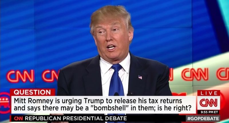 Donald Trump says audits are why he is not releasing tax returns_CNN GOP debate 2-25-16