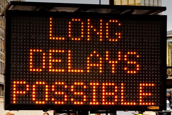 Roadway delays electronic signs