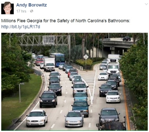 Andy Borowitz FB blurb for his 3-28-16 column on NC anti-LGBT law enactment
