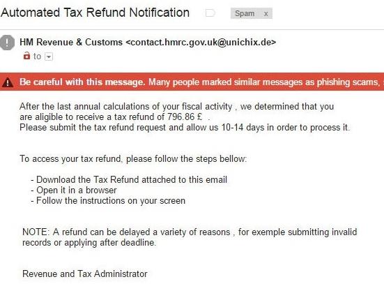 UK phishing tax scam