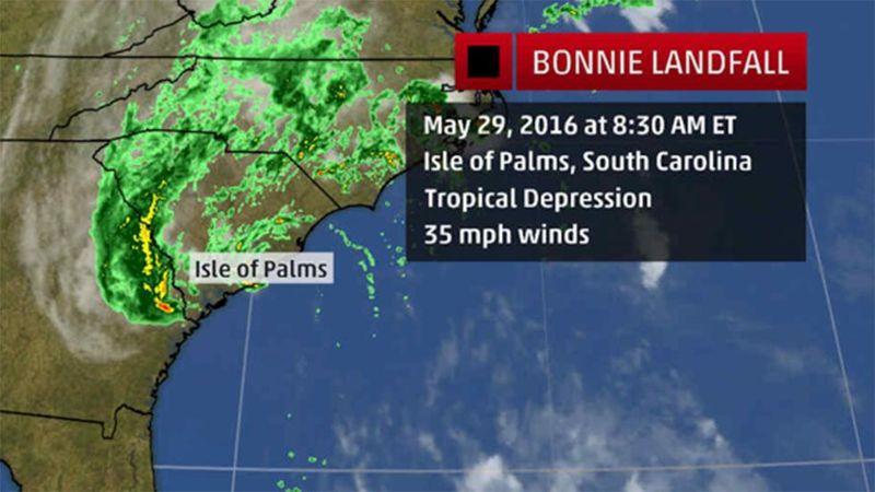 TS-TD Bonnie May 29 2016 SC landfall