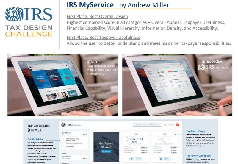 Andrew Miller winning IRS Tax Design Challenge submission