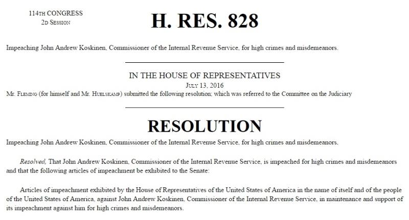 HR 828 Koskinen impeachment