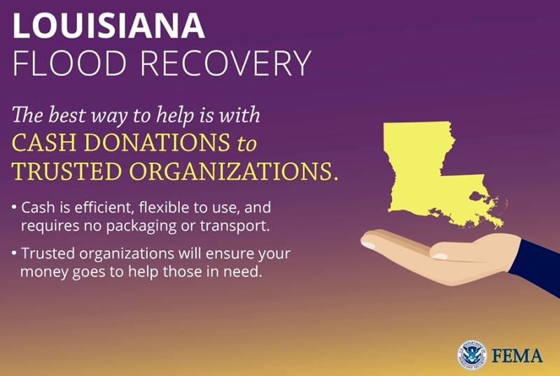 Louisiana Flood Recovery August 2016 tips FEMA logo