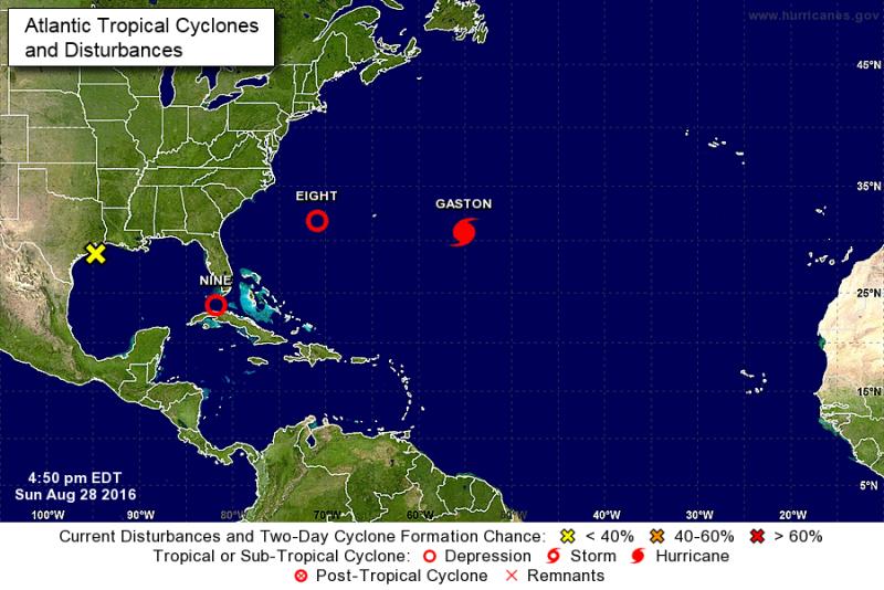 Tropical disturbances August 28 2016