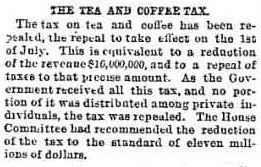 Coffee and tea tax repealed 1872 Chicago Tribune report_cropped story1