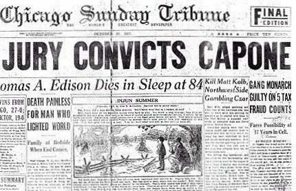 Chicago Tribune Al Capone conviction headline