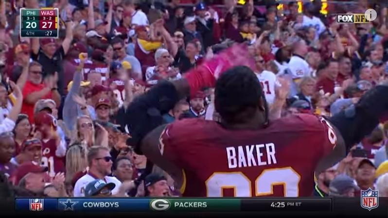 Washington Redskins Chris Baker celebrates team victory over Eagles_NFL video screenshot