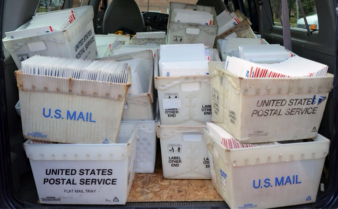 Bins of US Postal Service letters