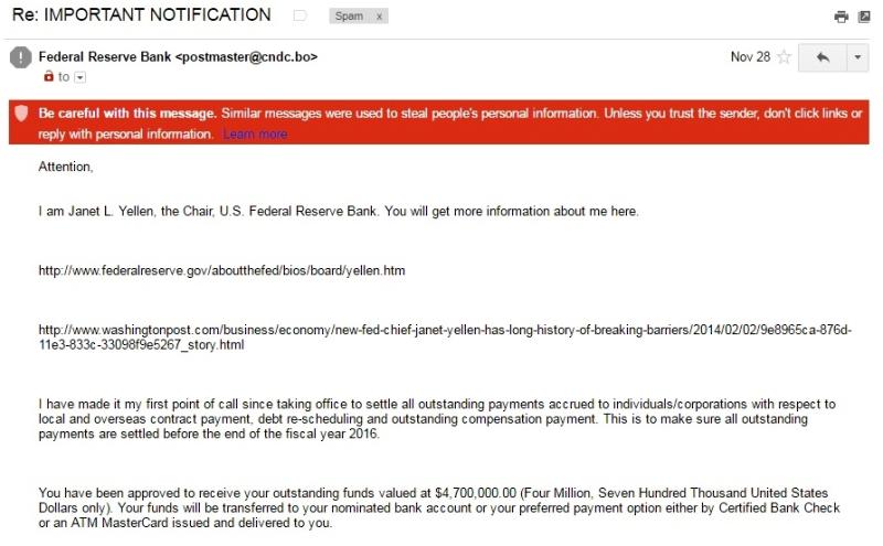 Janet Yellen scam email pt1