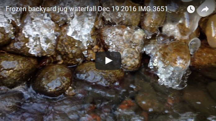 Frozen backyard jug waterfall Dec 19 2016