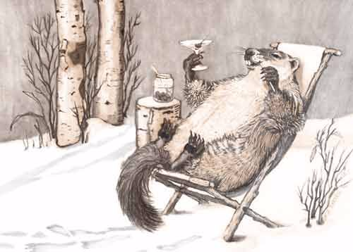 Groundhog relaxing with martini_GroundhogGreetings_Pinterest