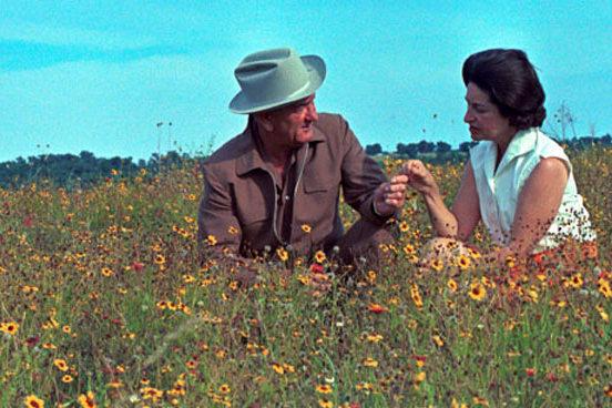 LBJ and Lady Bird enjoying Texas wildflowers_Lady Bird Johnson Wildflower Center