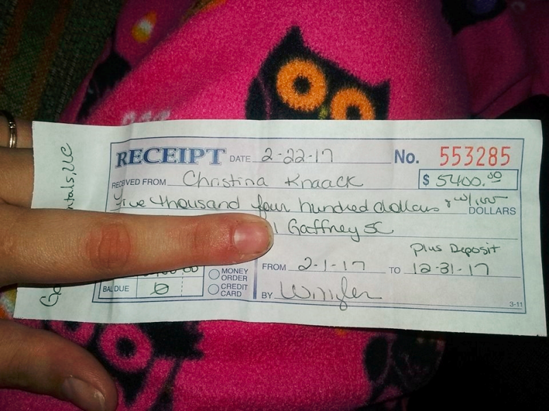 Receipt for year of rent payments via tax refund_Christina Knaack Facebook