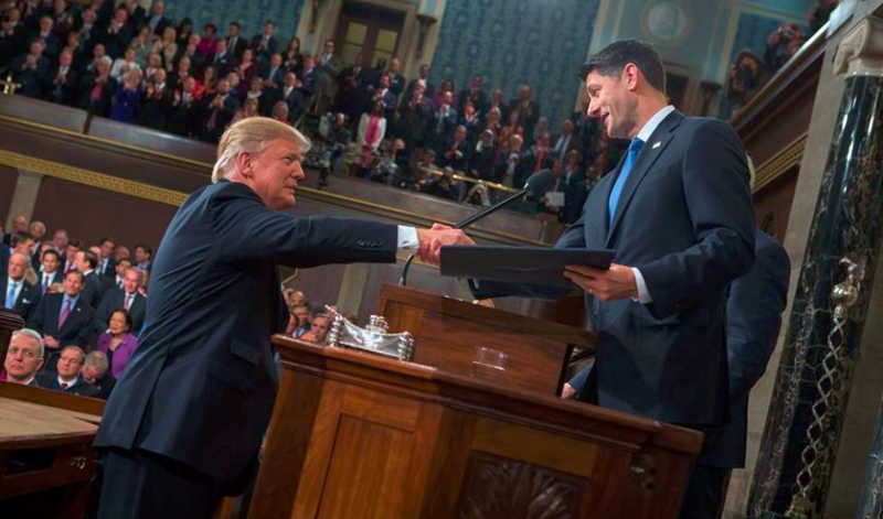 Donald Trump greeting Paul Ryan before joint address 2-28-17 to Congress