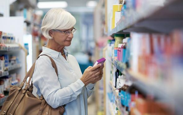Woman shopping for OTC medicine_FSAStore infographic