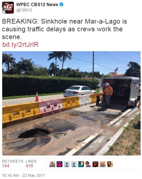 WPEC CBS12 Twitter report of Mar-a-Lago sinkhole