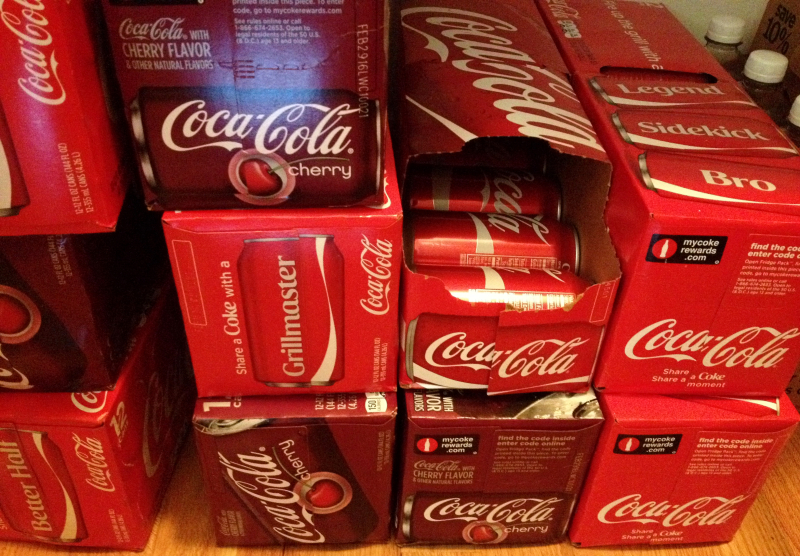 Coca-Cola products in our pantry