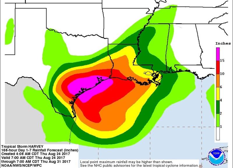 Tropical Storm Harvey rain predictions