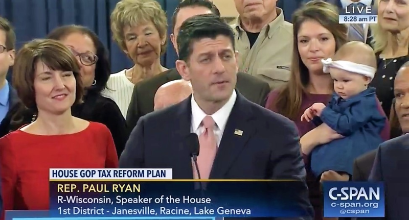 House Speaker Paul Ryan announced 2017 GOP tax reform bill 11-2-17_C-SPAN video screenshot