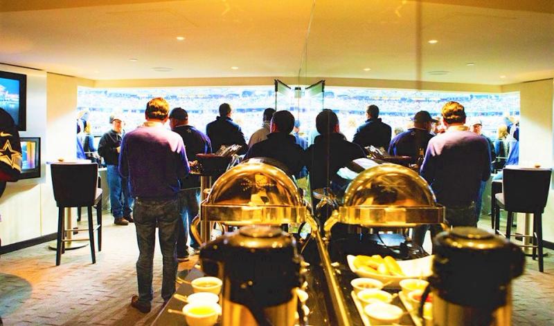 Fans enjoy sporting event luxury suite amenities at AT&T Stadium Dallas_SuiteHop via Facebook