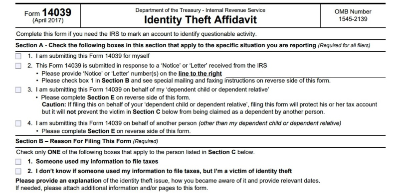 IRS Form 14039 identiy theft affidavit excerpt