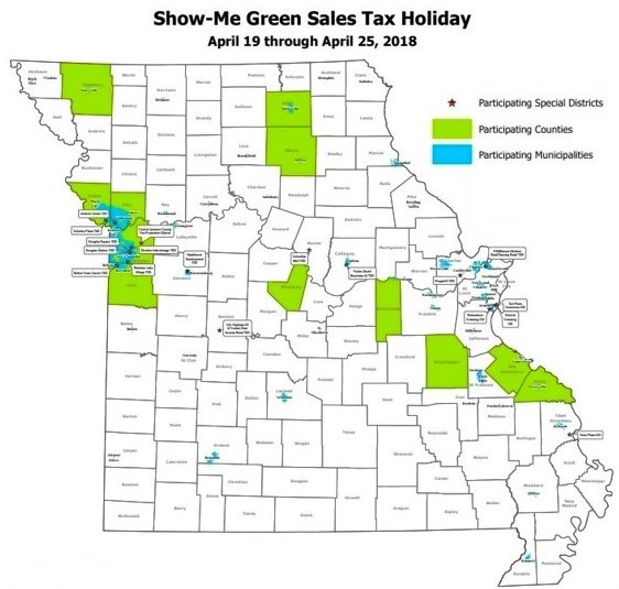 Missouri local sales tax holiday participation map 2018_with legend