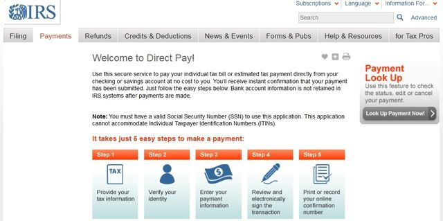 IRS Direct Pay page