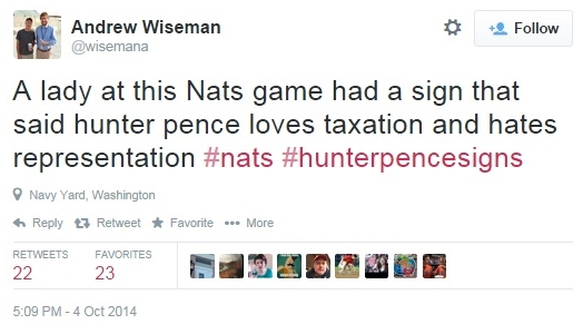 Hunter Pence taxation sign at Nationals Giants NLDS game Oct 4