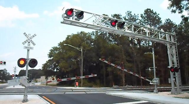 Railroad crossing stop signals