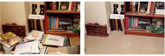 My home office floor before and after