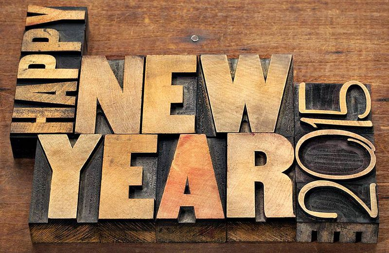 Happy new year 2015 wood cut from an image created by graphic-design_dot_com