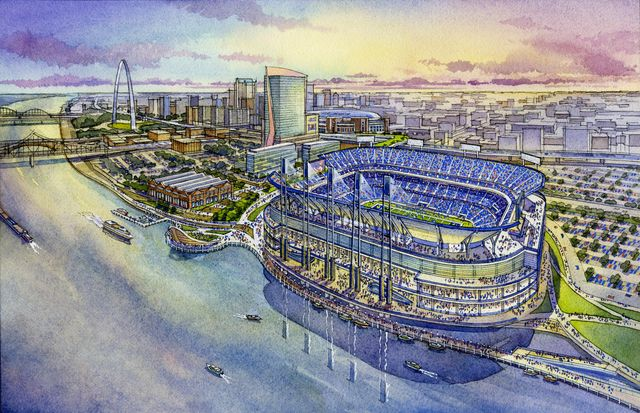 St Louis Rams NHL proposed stadium_via HOK-360 Architecture