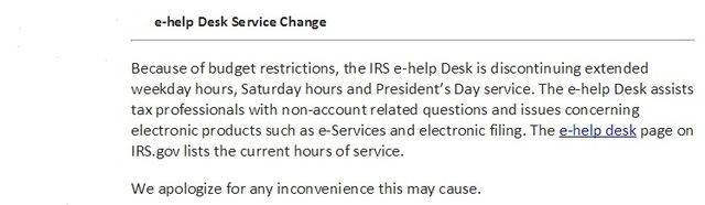 E-help hours email from IRS to tax pros 1-16-15