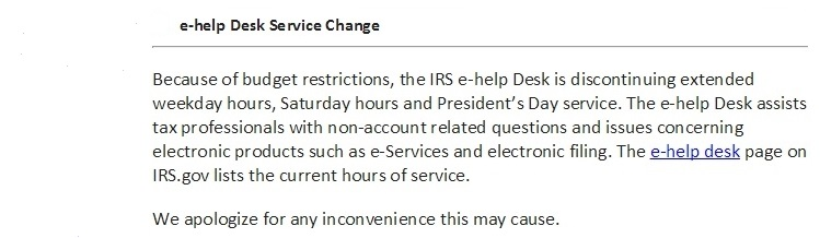 E Help Hours Email From IRS To Tax Pros 1 16 15
