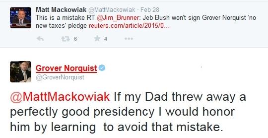 Grover Norquist tweet on Jeb Bush and GHWB41 broken tax pledge