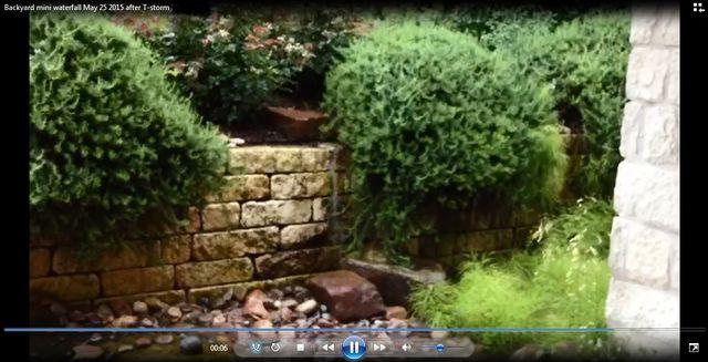Backyard mini waterfall