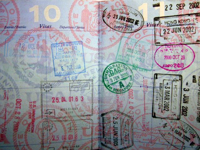 Passports with many stamps