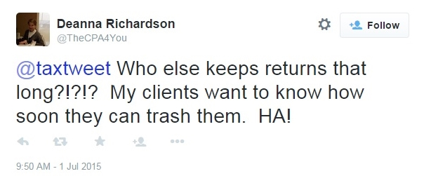 Deanna Richardson Twitter comment on JBush tax returns