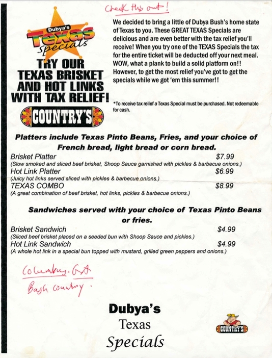 Dubya's Texas Specials at Countrys BBQ